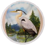 Flying Lamb Productions                 Great Blue Heron Round Beach Towel