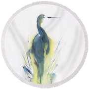 Blue Heron Turning Round Beach Towel