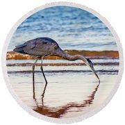 Great Blue Heron Twilight Round Beach Towel