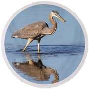 Great Blue Heron With A Small Meal Round Beach Towel