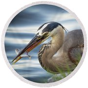 Great Blue Heron With Fish Round Beach Towel