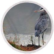 Great Blue Heron Landscape Round Beach Towel