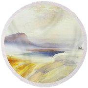 Great Blue Spring Of The Lower Geyser Basin Round Beach Towel by Thomas Moran