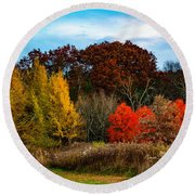 Great Brook Farm Autumn Round Beach Towel