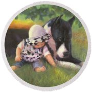 Round Beach Towel featuring the painting Great Dane With Baby by Nancy Lee Moran