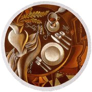 Round Beach Towel featuring the painting Great Dining by Leon Zernitsky