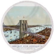 Great East River Suspension Bridge 1892 Round Beach Towel
