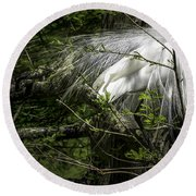 Great Egret #2 Round Beach Towel