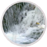 Great Egret Hunting At Waterfall - Digitalart Painting 3 Round Beach Towel