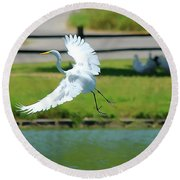 Great Egret In A Left Banking Turn - Digitalart Round Beach Towel