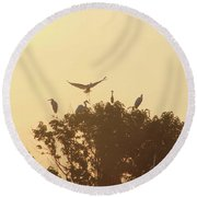Great Egret Joining Friends Round Beach Towel