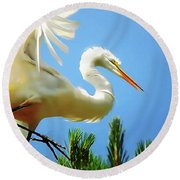 Great Egret Preparing For Treetop Landing 3 - Digitalart Round Beach Towel