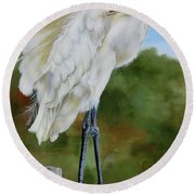 Round Beach Towel featuring the painting Great Egret Standing by Phyllis Beiser