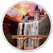 Great Falls Castle Round Beach Towel