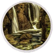 Great Falls Close Up Round Beach Towel