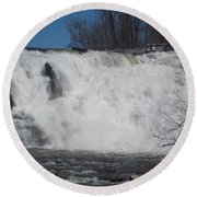 Great Falls In Canaan Round Beach Towel