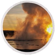 Great Fountain Geyser Sunset - Yellowstone National Park Round Beach Towel