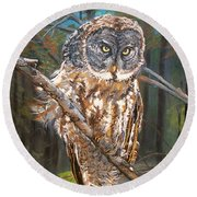 Great Grey Owl 2 Round Beach Towel