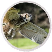 Great Horned Owl-2347 Round Beach Towel