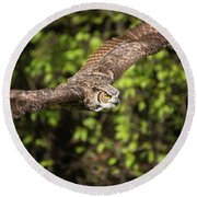Great Horned Owl-2419 Round Beach Towel