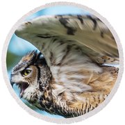 Great Horned Owl-2486 Round Beach Towel