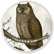 Great Horned Owl Round Beach Towel by Charles Harden