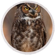 Round Beach Towel featuring the digital art Great Horned Owl Digital Oil by Chris Flees