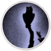 Great Horned Owl In The Desert 4 Round Beach Towel