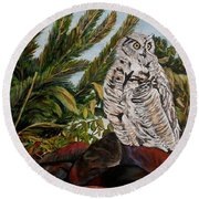 Round Beach Towel featuring the painting Great Horned Owl - Owl On The Rocks by Marilyn  McNish