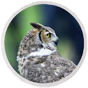 Great Horned Owl Profile Round Beach Towel