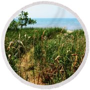 Round Beach Towel featuring the photograph Great Lake Beach Path by Michelle Calkins
