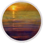 Round Beach Towel featuring the digital art Great Lakes Setting Sun by Michelle Calkins