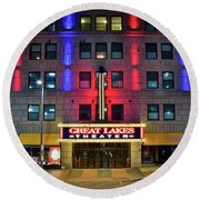 Round Beach Towel featuring the photograph Great Lakes Theatre by Frozen in Time Fine Art Photography