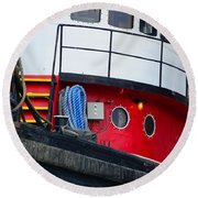 Great Lakes Tugboat Round Beach Towel