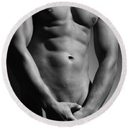 Great Nude Male Body Round Beach Towel