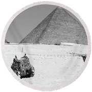 Round Beach Towel featuring the photograph great pyramids of Giza by Silvia Bruno