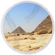 Round Beach Towel featuring the photograph Great Pyramids Of Gizah by Silvia Bruno