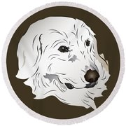 Great Pyrenees Dog Round Beach Towel
