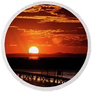 Great Salt Lake Sunset Round Beach Towel