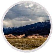 Great Sand Dunes Panorama Round Beach Towel