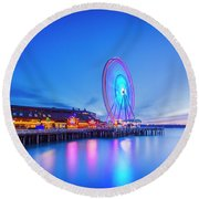 Great Seattle Wheel Round Beach Towel by Evgeny Vasenev