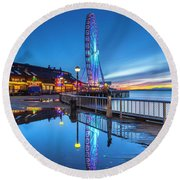 Great Seattle Wheel Round Beach Towel