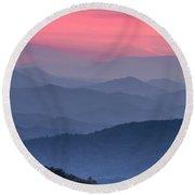 Great Smoky Mountain Sunset Round Beach Towel