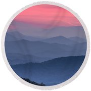 Great Smoky Mountain Sunset Round Beach Towel by Teri Virbickis