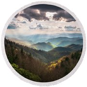 Great Smoky Mountains National Park North Carolina Scenic Landscape Round Beach Towel