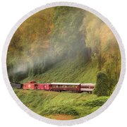 Great Smoky Mountains Railroad Round Beach Towel