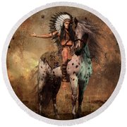 Great Spirit Chief Round Beach Towel