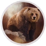 Great Strength - Grizzly Bear Art Round Beach Towel