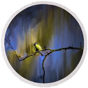 Great Tit On Branch #h3 Round Beach Towel