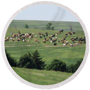 Great Western Cattle Drive Round Beach Towel